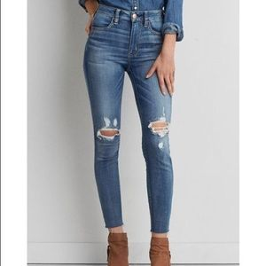AEO | Sateen Distressed Knee High Rise Jegging